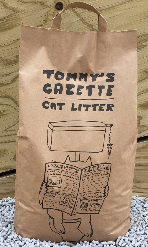 Tommy's Gazette eco-friendly cat litter is available in stores